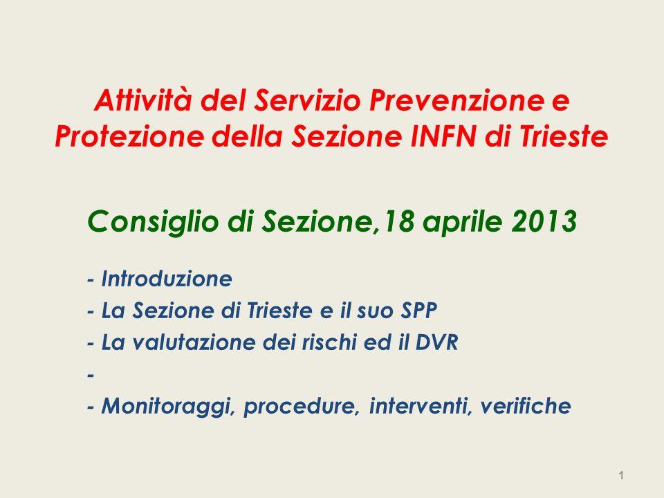 Attività del Servizio Prevenzione e Protezione della Sezione INFN di Trieste Consiglio di Sezione,18 aprile 2013 - Introduzione - La Sezione di Triest