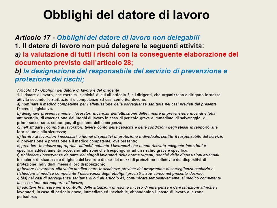 Obblighi del datore di lavoro Articolo 17 - Obblighi del datore di lavoro non delegabili 1. Il datore di lavoro non può delegare le seguenti attività: