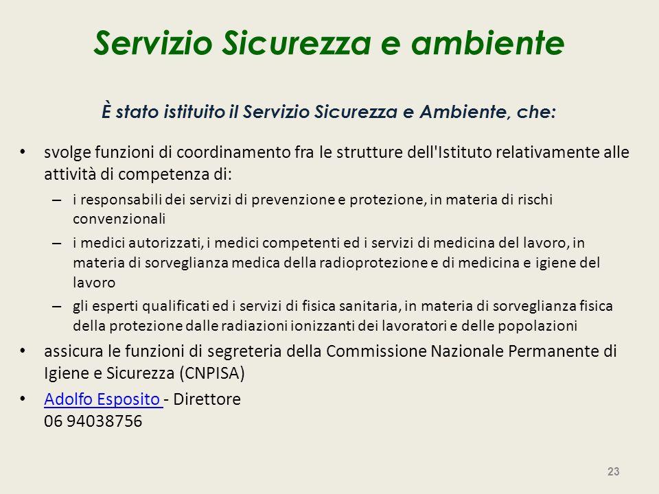 Servizio Sicurezza e ambiente È stato istituito il Servizio Sicurezza e Ambiente, che: svolge funzioni di coordinamento fra le strutture dell'Istituto