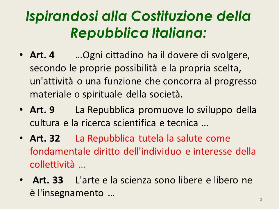 Ispirandosi alla Costituzione della Repubblica Italiana: Art. 4…Ogni cittadino ha il dovere di svolgere, secondo le proprie possibilità e la propria s