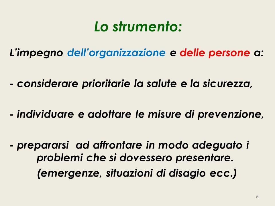Lo strumento: Limpegno dellorganizzazione e delle persone a: - considerare prioritarie la salute e la sicurezza, - individuare e adottare le misure di