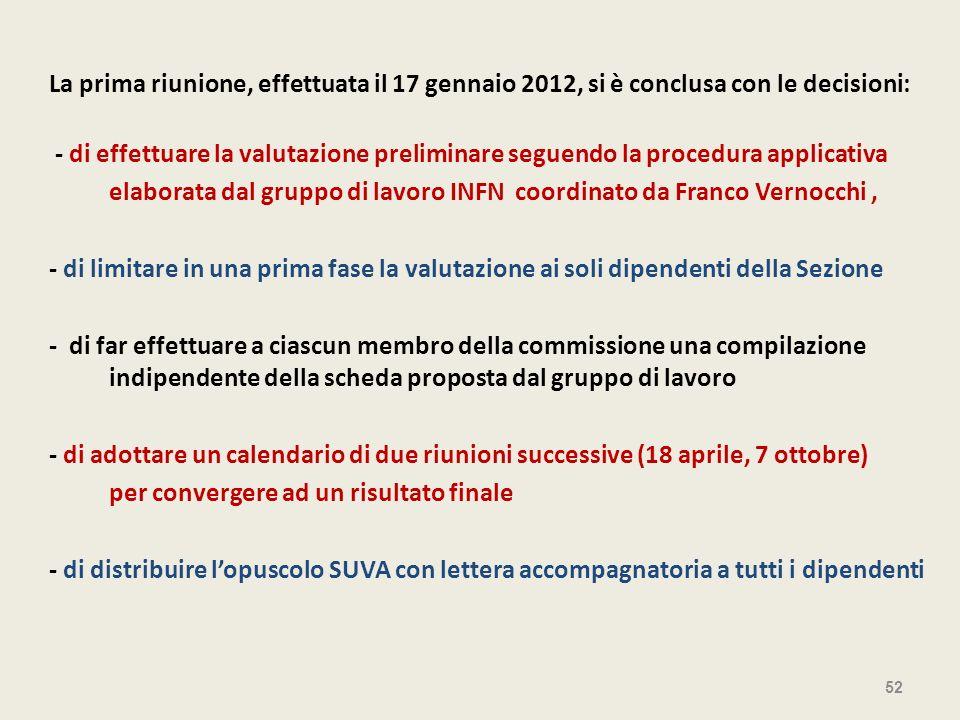 La prima riunione, effettuata il 17 gennaio 2012, si è conclusa con le decisioni: - di effettuare la valutazione preliminare seguendo la procedura app