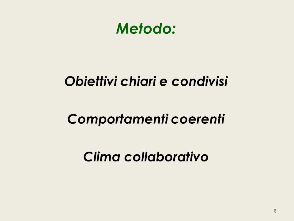 Metodo: Obiettivi chiari e condivisi Comportamenti coerenti Clima collaborativo 6