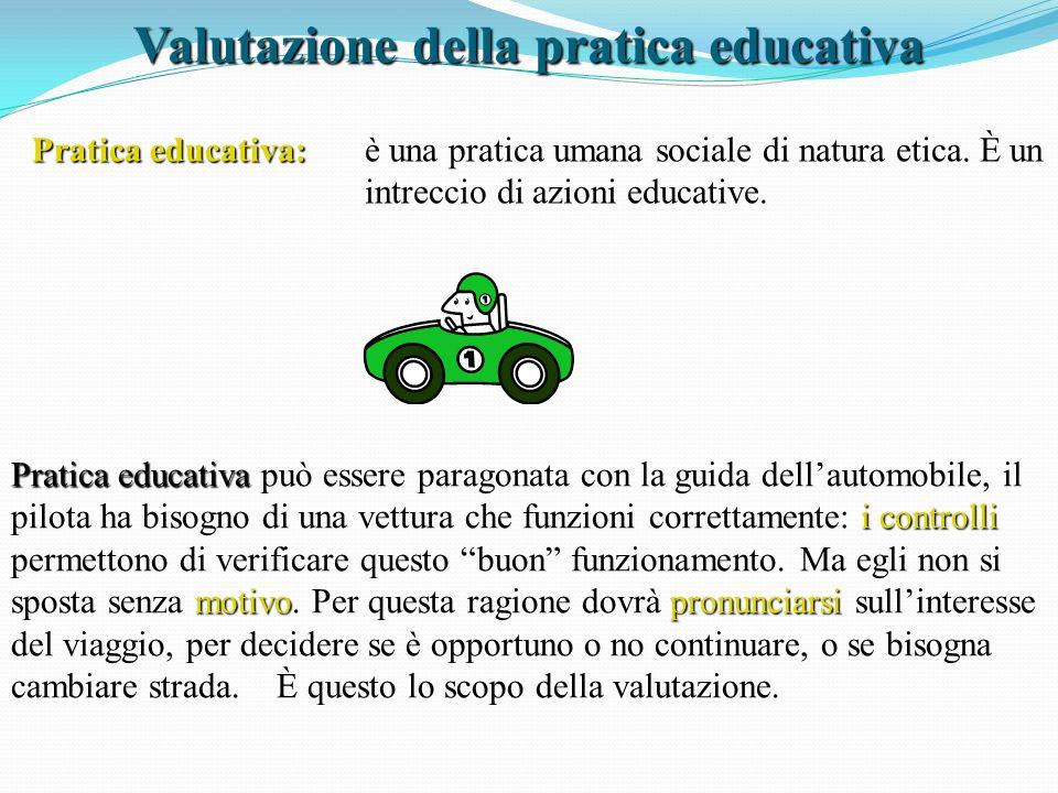 Valutazione della pratica educativa Pratica educativa: è una pratica umana sociale di natura etica. È un intreccio di azioni educative. Pratica educat