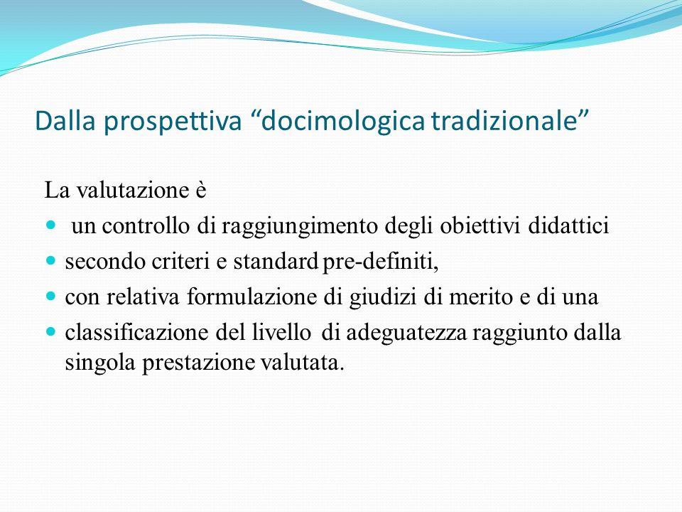 Dalla prospettiva docimologica tradizionale La valutazione è un controllo di raggiungimento degli obiettivi didattici secondo criteri e standard pre-d