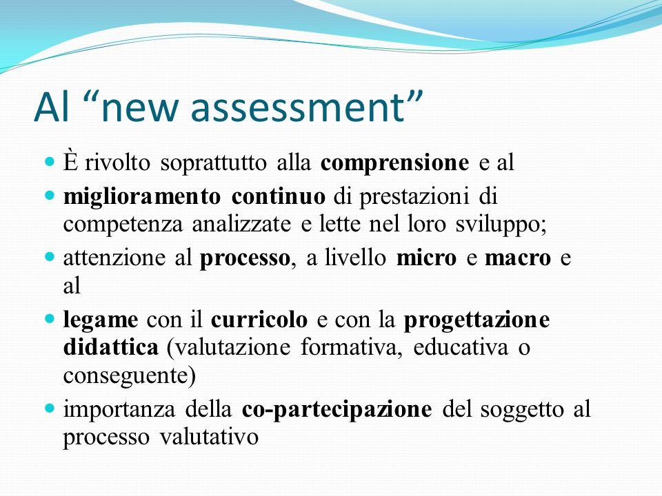 Al new assessment È rivolto soprattutto alla comprensione e al miglioramento continuo di prestazioni di competenza analizzate e lette nel loro svilupp