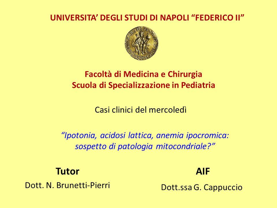 Casi clinici del mercoledì Tutor Dott.N. Brunetti-Pierri AIF Dott.ssa G.