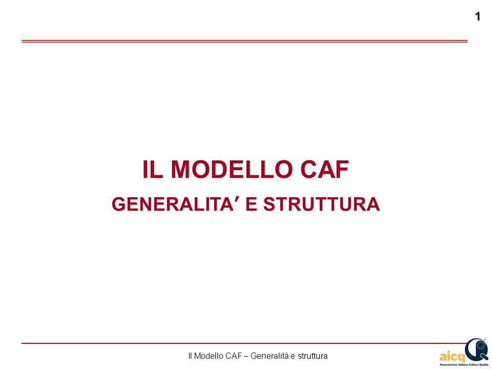 Lautovalutazione delle scuole secondo il modello CAF 1 Il Modello CAF – Generalità e struttura 1 IL MODELLO CAF GENERALITA E STRUTTURA