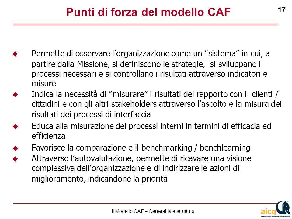 Lautovalutazione delle scuole secondo il modello CAF 17 Il Modello CAF – Generalità e struttura 17 Punti di forza del modello CAF Permette di osservar