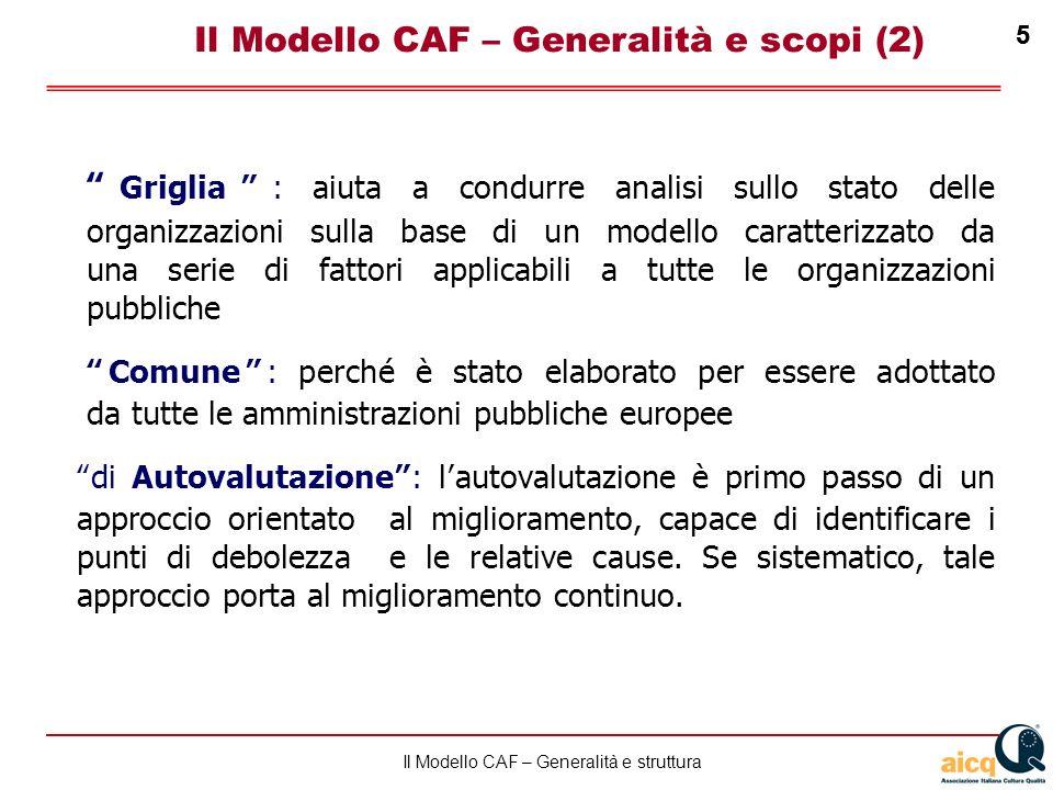 Lautovalutazione delle scuole secondo il modello CAF 5 Il Modello CAF – Generalità e struttura 5 Griglia: aiuta a condurre analisi sullo stato delle o