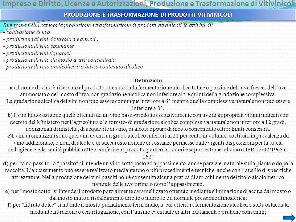 Impresa e Diritto, Licenze e Autorizzazioni, Produzione e Trasformazione di Vitivinicoli Rientrano nella categoria produzione e trasformazione di prod