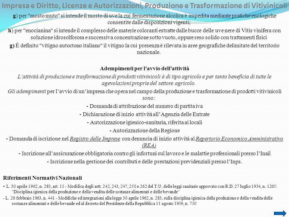 Impresa e Diritto, Licenze e Autorizzazioni, Produzione e Trasformazione di Vitivinicoli g) per