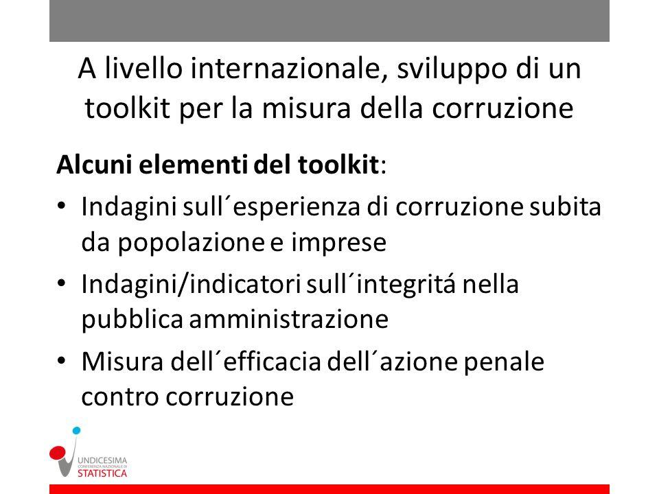 A livello internazionale, sviluppo di un toolkit per la misura della corruzione Alcuni elementi del toolkit: Indagini sull´esperienza di corruzione subita da popolazione e imprese Indagini/indicatori sull´integritá nella pubblica amministrazione Misura dell´efficacia dell´azione penale contro corruzione