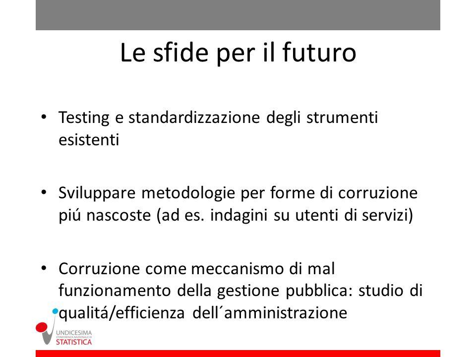 Le sfide per il futuro Testing e standardizzazione degli strumenti esistenti Sviluppare metodologie per forme di corruzione piú nascoste (ad es.