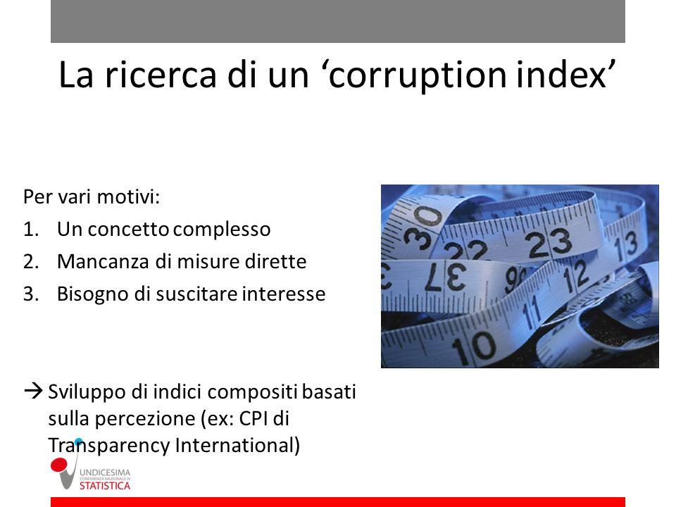 La ricerca di un corruption index Per vari motivi: 1.Un concetto complesso 2.Mancanza di misure dirette 3.Bisogno di suscitare interesse Sviluppo di indici compositi basati sulla percezione (ex: CPI di Transparency International)