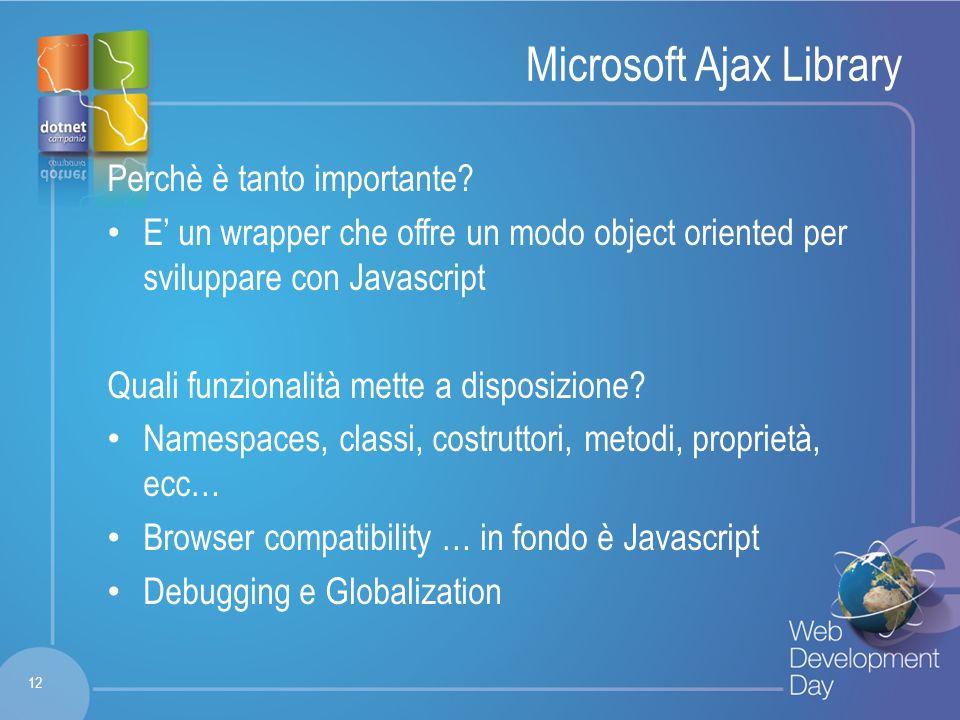 Fare clic per modificare lo stile del titolo Fare clic per modificare stili del testo dello schema – Secondo livello Terzo livello – Quarto livello » Quinto livello Microsoft Ajax Library Perchè è tanto importante.