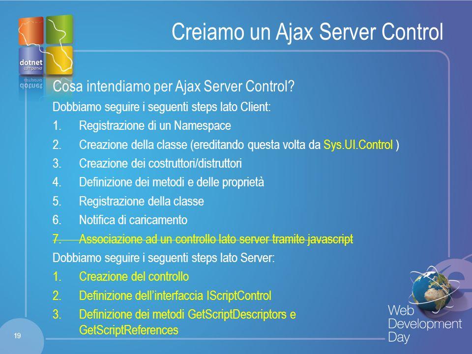 Fare clic per modificare lo stile del titolo Fare clic per modificare stili del testo dello schema – Secondo livello Terzo livello – Quarto livello » Quinto livello Creiamo un Ajax Server Control Cosa intendiamo per Ajax Server Control.