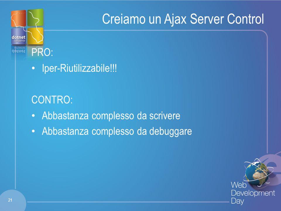 Fare clic per modificare lo stile del titolo Fare clic per modificare stili del testo dello schema – Secondo livello Terzo livello – Quarto livello » Quinto livello Creiamo un Ajax Server Control PRO: Iper-Riutilizzabile!!.