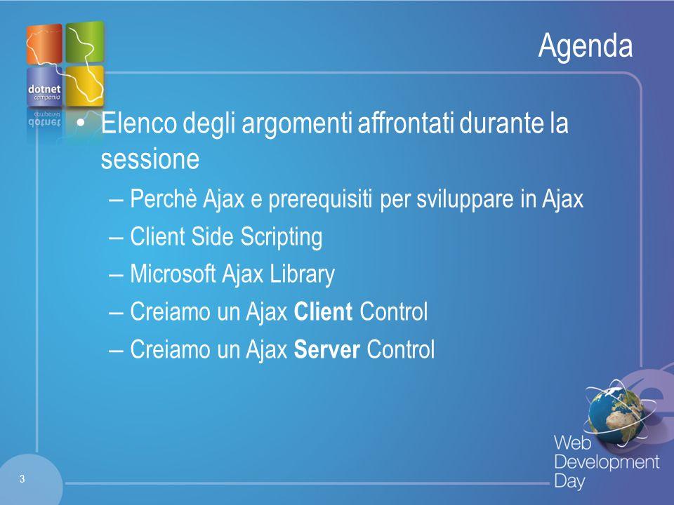 Fare clic per modificare lo stile del titolo Fare clic per modificare stili del testo dello schema – Secondo livello Terzo livello – Quarto livello » Quinto livello Agenda Elenco degli argomenti affrontati durante la sessione – Perchè Ajax e prerequisiti per sviluppare in Ajax – Client Side Scripting – Microsoft Ajax Library – Creiamo un Ajax Client Control – Creiamo un Ajax Server Control 3