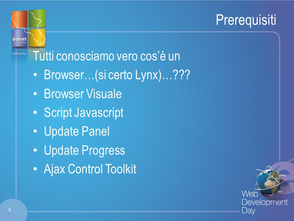 Fare clic per modificare lo stile del titolo Fare clic per modificare stili del testo dello schema – Secondo livello Terzo livello – Quarto livello » Quinto livello Prerequisiti Tutti conosciamo vero cosè un Browser…(si certo Lynx)… .