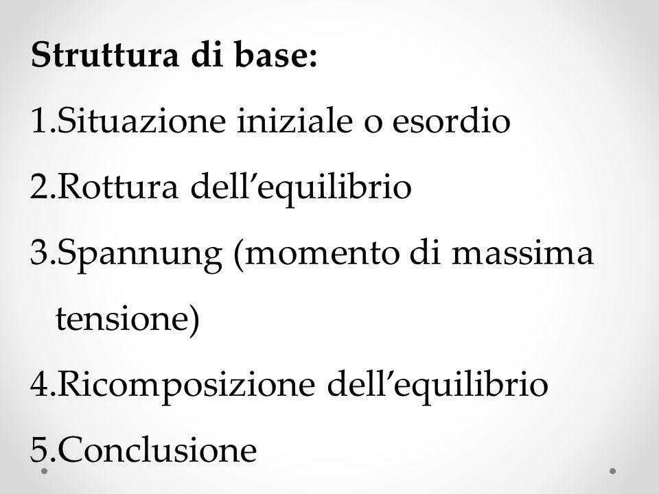 Struttura di base: 1.Situazione iniziale o esordio 2.Rottura dellequilibrio 3.Spannung (momento di massima tensione) 4.Ricomposizione dellequilibrio 5