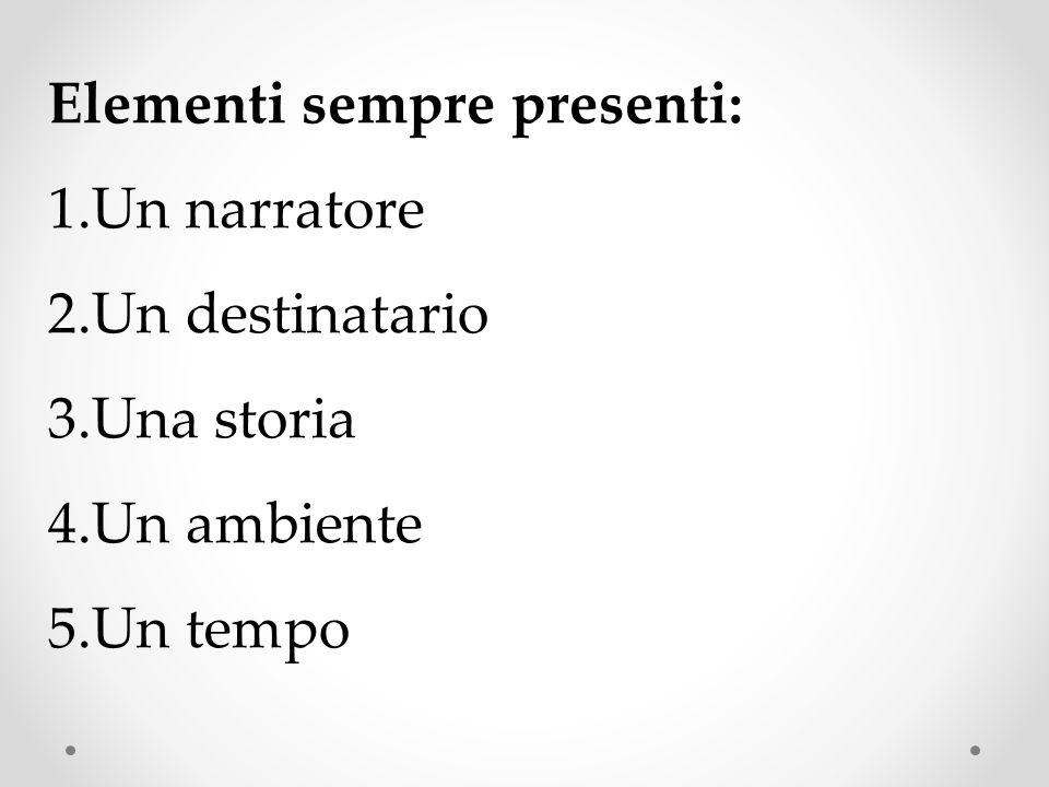 Elementi sempre presenti: 1.Un narratore 2.Un destinatario 3.Una storia 4.Un ambiente 5.Un tempo