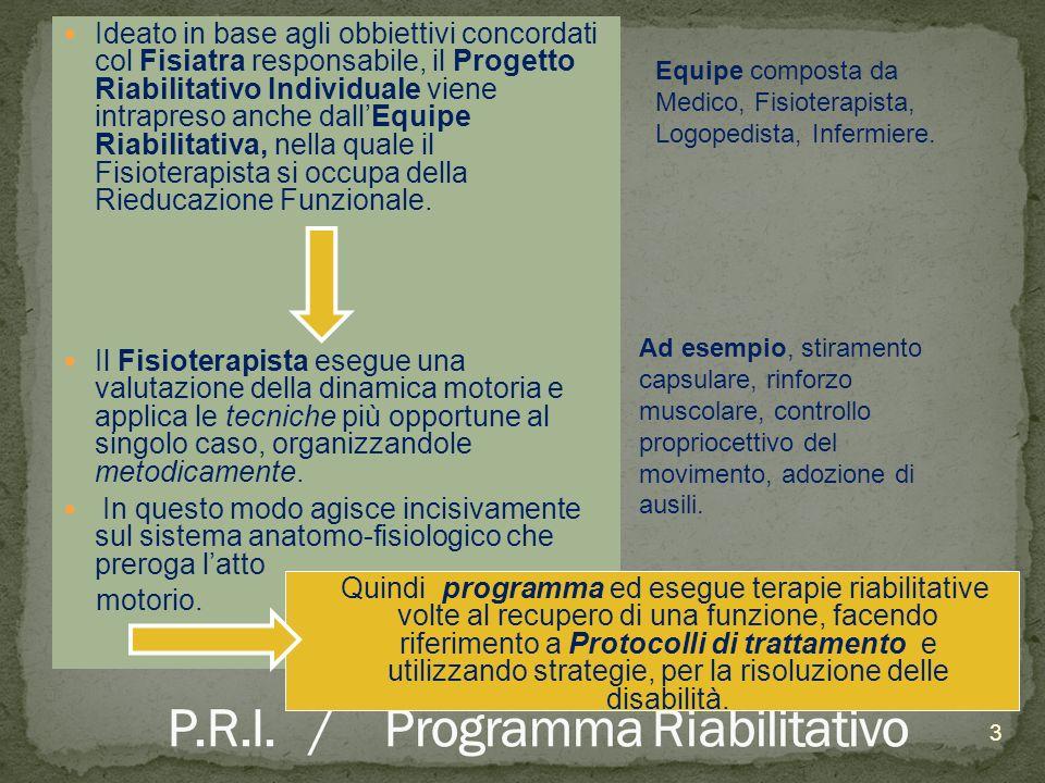 Ideato in base agli obbiettivi concordati col Fisiatra responsabile, il Progetto Riabilitativo Individuale viene intrapreso anche dallEquipe Riabilita