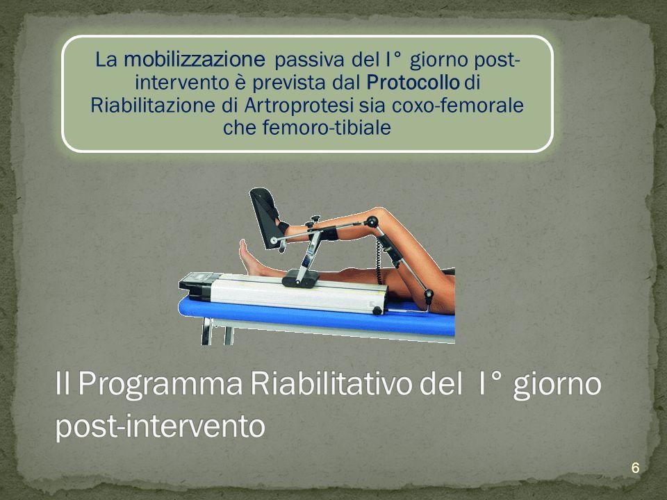La mobilizzazione passiva del I° giorno post- intervento è prevista dal Protocollo di Riabilitazione di Artroprotesi sia coxo-femorale che femoro-tibi