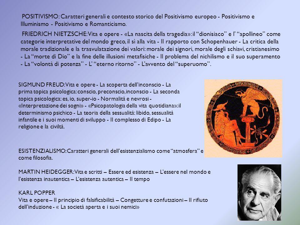 POSITIVISMO: Caratteri generali e contesto storico del Positivismo europeo - Positivismo e Illuminismo - Positivismo e Romanticismo. FRIEDRICH NIETZSC
