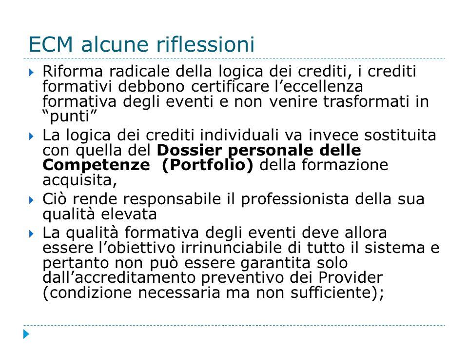 ECM alcune riflessioni Riforma radicale della logica dei crediti, i crediti formativi debbono certificare leccellenza formativa degli eventi e non ven