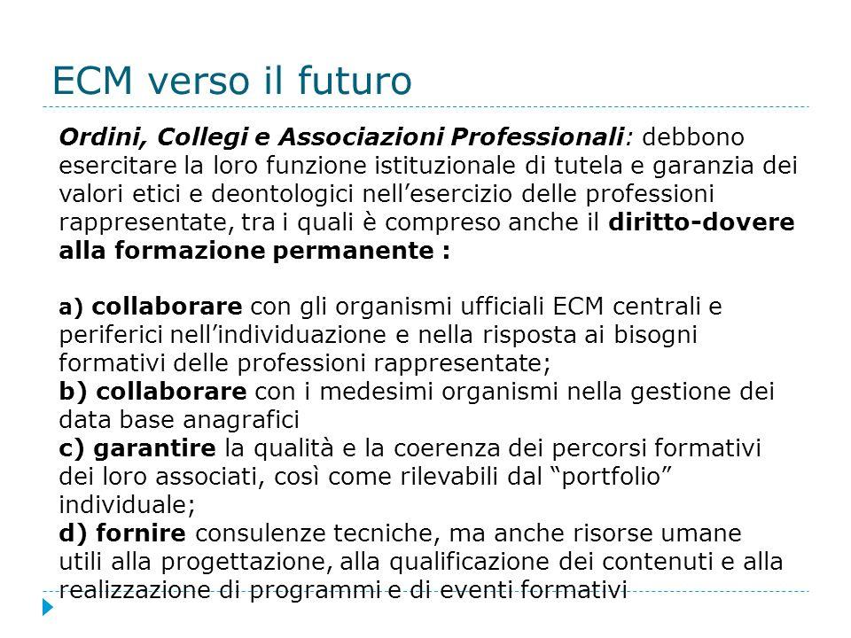 ECM verso il futuro Ordini, Collegi e Associazioni Professionali: debbono esercitare la loro funzione istituzionale di tutela e garanzia dei valori et