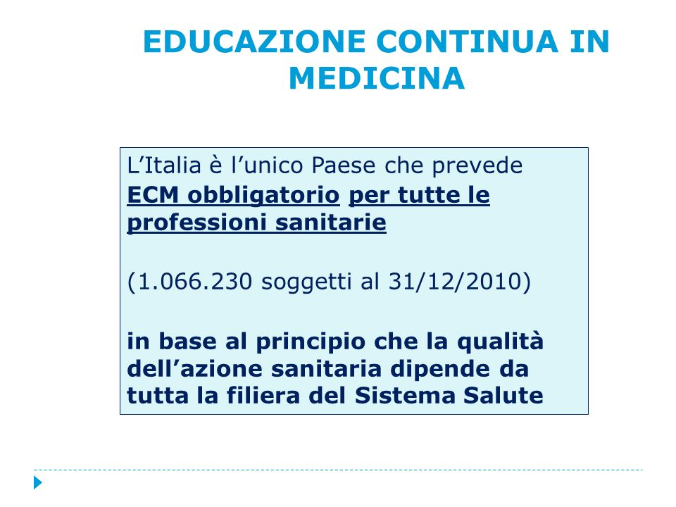 LItalia è lunico Paese che prevede ECM obbligatorio per tutte le professioni sanitarie (1.066.230 soggetti al 31/12/2010) in base al principio che la