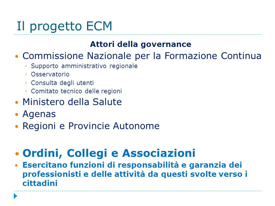 Il progetto ECM Attori della governance Commissione Nazionale per la Formazione Continua Supporto amministrativo regionale Osservatorio Consulta degli