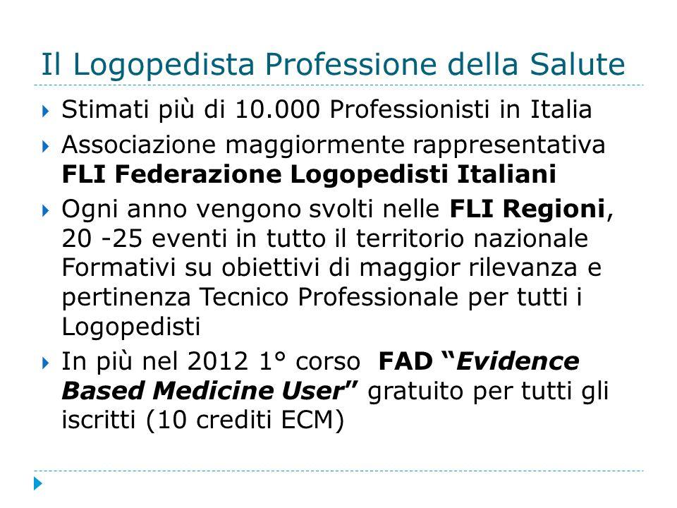Il Logopedista Professione della Salute Stimati più di 10.000 Professionisti in Italia Associazione maggiormente rappresentativa FLI Federazione Logop