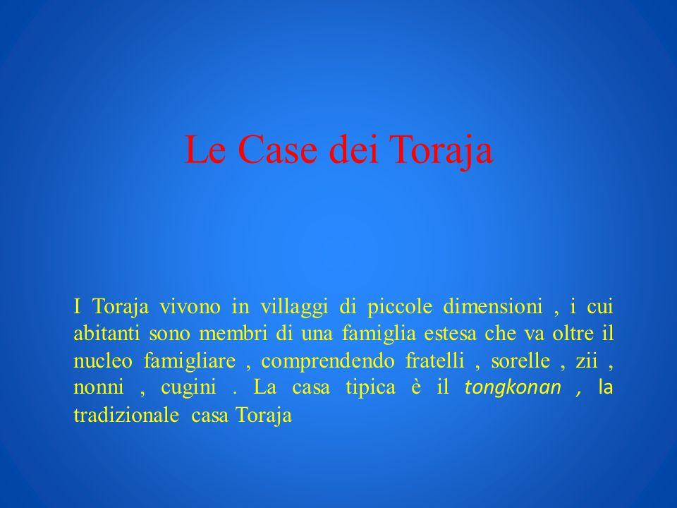 Le Case dei Toraja I Toraja vivono in villaggi di piccole dimensioni, i cui abitanti sono membri di una famiglia estesa che va oltre il nucleo famigli