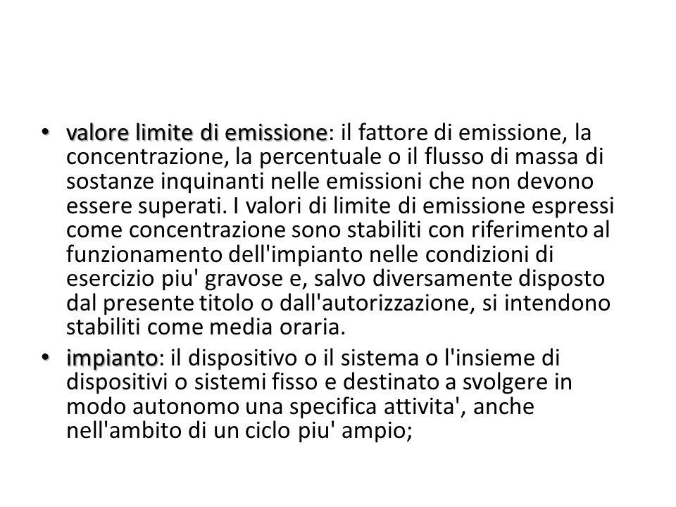 valore limite di emissione valore limite di emissione: il fattore di emissione, la concentrazione, la percentuale o il flusso di massa di sostanze inq