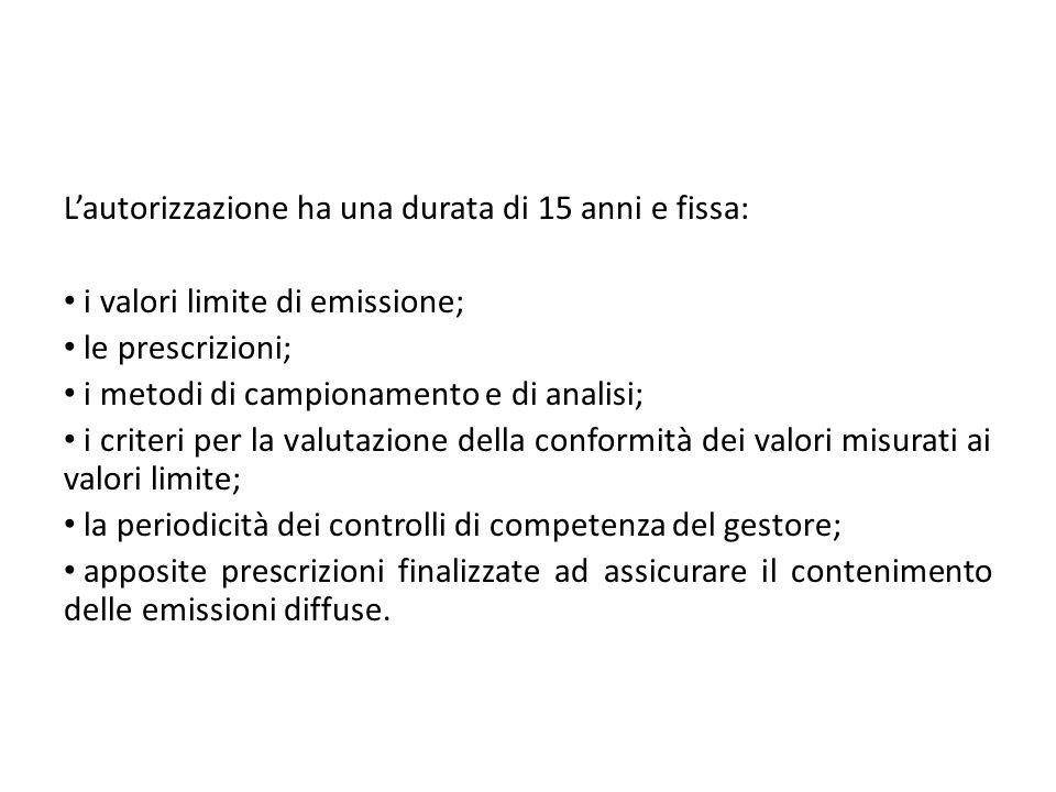 Lautorizzazione ha una durata di 15 anni e fissa: i valori limite di emissione; le prescrizioni; i metodi di campionamento e di analisi; i criteri per