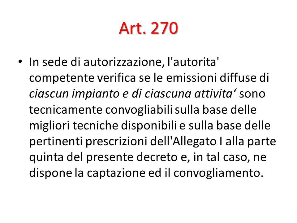 Art. 270 In sede di autorizzazione, l'autorita' competente verifica se le emissioni diffuse di ciascun impianto e di ciascuna attivita sono tecnicamen