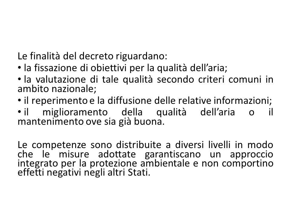 Le finalità del decreto riguardano: la fissazione di obiettivi per la qualità dellaria; la valutazione di tale qualità secondo criteri comuni in ambit
