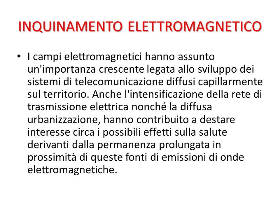 INQUINAMENTO ELETTROMAGNETICO I campi elettromagnetici hanno assunto un'importanza crescente legata allo sviluppo dei sistemi di telecomunicazione dif