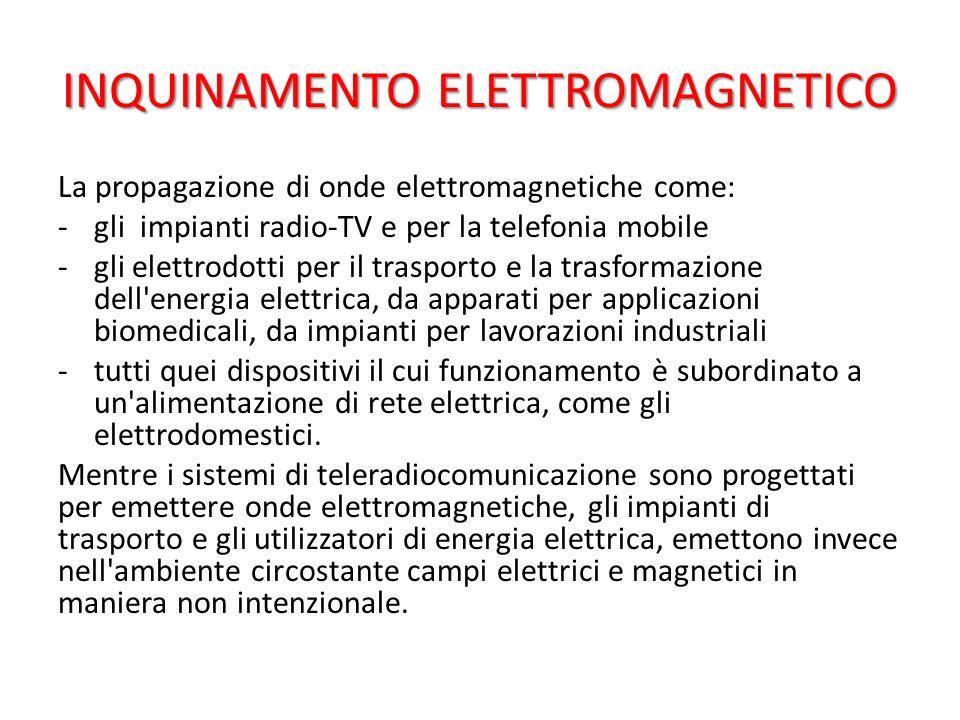 INQUINAMENTO ELETTROMAGNETICO La propagazione di onde elettromagnetiche come: -gli impianti radio-TV e per la telefonia mobile -gli elettrodotti per i