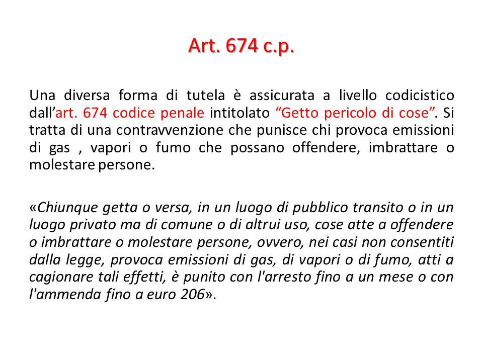 Art. 674 c.p. Una diversa forma di tutela è assicurata a livello codicistico dallart. 674 codice penale intitolato Getto pericolo di cose. Si tratta d