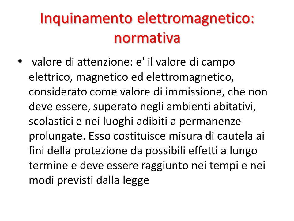 Inquinamento elettromagnetico: normativa valore di attenzione: e' il valore di campo elettrico, magnetico ed elettromagnetico, considerato come valore