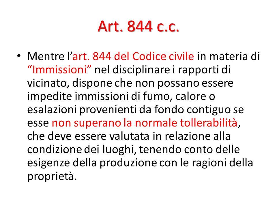 Art. 844 c.c. Mentre lart. 844 del Codice civile in materia di Immissioni nel disciplinare i rapporti di vicinato, dispone che non possano essere impe