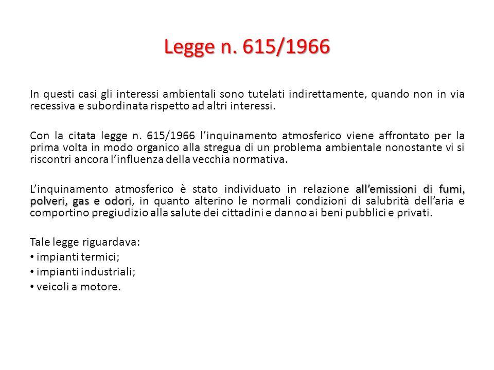 Legge n. 615/1966 In questi casi gli interessi ambientali sono tutelati indirettamente, quando non in via recessiva e subordinata rispetto ad altri in