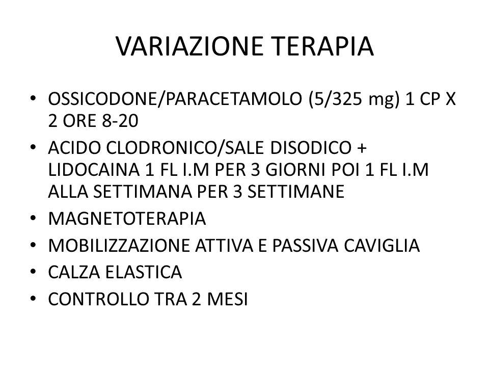 VARIAZIONE TERAPIA OSSICODONE/PARACETAMOLO (5/325 mg) 1 CP X 2 ORE 8-20 ACIDO CLODRONICO/SALE DISODICO + LIDOCAINA 1 FL I.M PER 3 GIORNI POI 1 FL I.M