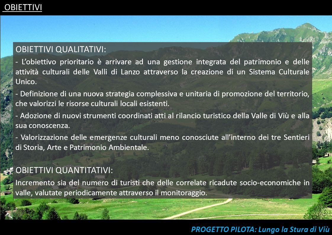 OBIETTIVI QUALITATIVI: - Lobiettivo prioritario è arrivare ad una gestione integrata del patrimonio e delle attività culturali delle Valli di Lanzo at