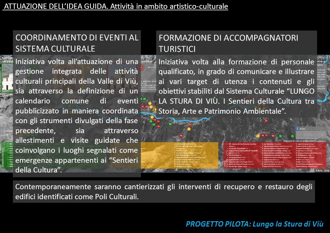 PROGETTO PILOTA: Lungo la Stura di Viù ATTUAZIONE DELLIDEA GUIDA. Attività in ambito artistico-culturale COORDINAMENTO DI EVENTI AL SISTEMA CULTURALE