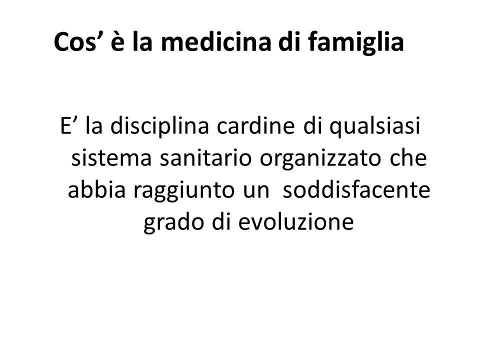 Cos è la medicina di famiglia E la disciplina cardine di qualsiasi sistema sanitario organizzato che abbia raggiunto un soddisfacente grado di evoluzi