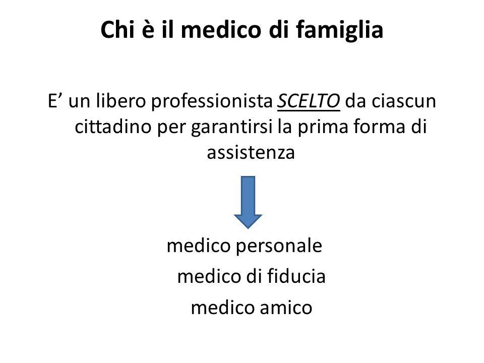 Chi è il medico di famiglia E un libero professionista SCELTO da ciascun cittadino per garantirsi la prima forma di assistenza medico personale medico